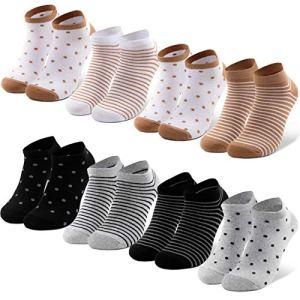 Occulto Lot de 8 paires de chaussettes pour femme Motif pois et cœurs Multicolore – Noir – 39-42