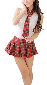 Paplan Femmes Méchant Lingerie Écolière écossaise Costume Tartan