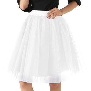 Party Train Puffy 5Layer 60CM Mode Femmes Tulle Jupe Tutu de mariée Demoiselle d'honneur Ceinture Serre Petticoat Lolita Saia (Color : White, Size : One Size)