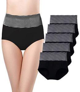 SEXYWG sous-vêtements en Coton Doux pour Femme Slips Stretch Culotte Respirante Taille Haute (Lot de 5), Noir-116, M