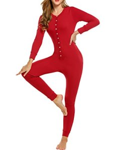 UNibelle Femme Vêtements Thermiques Combinaison Barboteuse Onesie Underwear Vêtements de Nuit T-Shirt Thermique avec sous-vêtements Thermiques Rouge