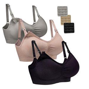 WhiFan 3Pack Allaitement Soutien-Gorge Soutien-Gorge sans Couture maternité Bralette Femmes de Sommeil sans Allaitement Soutien-Gorge (L, 3Pack(Black+Nude+Gray))