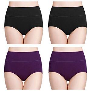wirarpa Culotte Femme Taille Haute Boxer élastique Coton Slip Confort Shorty Lot de 4 Noir Violet XL