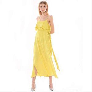WULILEI Jaune Maxi Femmes Robes Robe D'été Longue Robe Bandage Robe Boho Robe Robe Vintage Vêtements Oversize XL