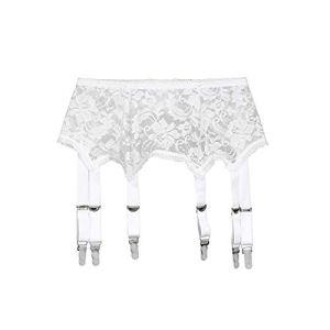 Frecoccialo Femmes Sexy Perspective 6 Bretelles Porte-Jarretelles Dentelle Ceinture pour Bas Cuisse Lingerie Vêtements de Nuit(ModèleC Blanc,XXL )