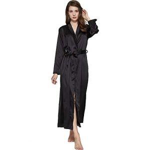 JJAIR Mariée Robe de Chambre, Longue Satin Peignoir Kimono Chemise de Nuit Robe Longue Robe Kimono Robe légère Demoiselle d'honneur Party Robe de Chambre,Noir,XL