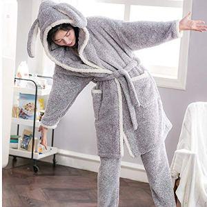 YAzNdom Pyjama De Dames Deux Pyjamas De Vacances Complète Survêtement Peignoir Pyjama Manches Longues for Femmes Pajamas Set De Dames (Color : Gray, Size : L)