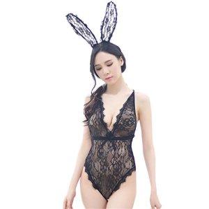 Asffdhley Body Sexy Femme Pyjama Sexy Noir Une pièce Femme Cosplay Dentelle Dos Nu Bodysuit Jumpsuit Clubwear Tops (Size : S)