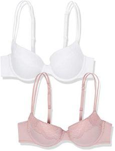 Marque Amazon – IRIS & LILLY Hopaa00182a Soutien-Gorge Lot de 2 – Femme, Multicolore (White/Ballet Pink Dot Print), 95D, Label: 36D