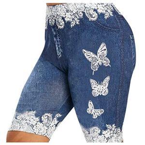 Moonuy _ Pantalon Court Femme Été Décontracté, Plus La Taille Skinny Papillon Dentelle Patchwork Leggings Shorts en Jean