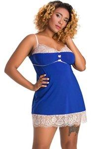Nine X – Jolie nuisette L-7XL, chemise de nuit Plus La Taille Blue XL