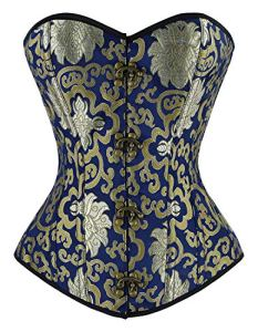 Charmian Women's Steampunk Vintage Spiral Steel Boned Embroided Pattern Boby Shaper Overbust Corset Top Gold/Blue XXXX-Large