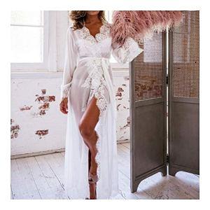 CHENTAOCS Femmes Dentelle Lingerie Ceinture Long Bain Robe Chemise de Nuit Peignoir Babydoll Notte Femme Peignoirs de Nuit Homewear (Couleur : Noir, Taille : L)