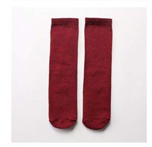 YUNGYE Japonais Harajuku Automne Streetwear Chaussettes en Coton Mode Femmes et des Enfants Solides Chaussettes Couleur vive Femme Chaussettes (Color : Wine Red, Size : One Size)