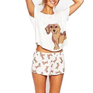Llan Pyjama Femmes Sets Teckel Pug Corgi Chihuahua Chien de Berger Allemand Crop Top Short Taille élastique lâche Pijama Mujer O-Cou (Color : White, Size : M)