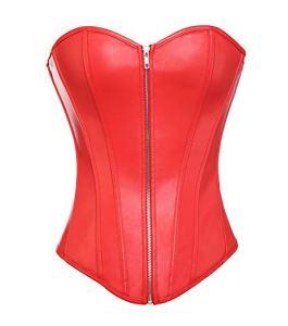 MISS MOLY Superbe Corset Mesdames Regarde en Cuir Noir par la Lingerie et G-String, Rouge (Zip), M/FR40~42(Bust89~95 Wais70~76)