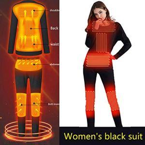 ZY Ensemble De sous-Vêtements Thermiques Électriques pour Femmes d'hiver, sous-Vêtements Chauffants De Chargement USB, sous-Vêtements Thermiques De Voyage en Plein Air,XXL