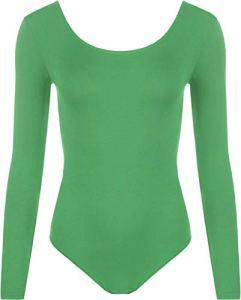 DF Limited Body à manches longues pour femme avec encolure dégagée et élastique – Vert – 36