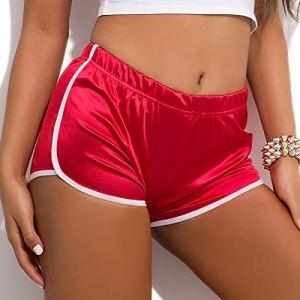 IEFIEL Femmes Casual Bermudas Short Plage Taille Haute Shorts Gym Fitness Yoga Sports Shorts de Piscine Natation Coton Bas Shorts de Pyjama S-XXL Rouge XL
