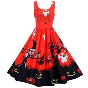 JUTOO Robe de Bal de soirée sans Manches imprimée Vintage Halloween pour Femmes