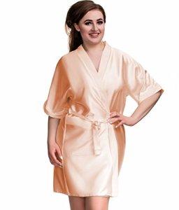 Nine X Peignoir de luxe en satin S- 7XL 8-26, 10 couleurs, plus la taille de Kimono – Or – 54
