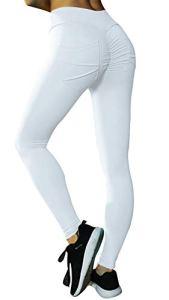 Uniquestyle Gymeltic Leggings Anti Cellulite Femmes Leggings Pantalon De Yoga Taille Haute Élastique Yoga Fitness Sports Pantalons Trousers Pants pour Femmes Blanc XL