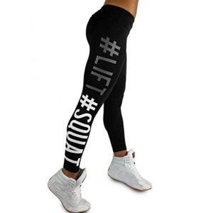Pantalon de Sports,Tonwalk Femmes Mode Faire des exercices leggings Fitness/Sports/Fonctionnement/Yoga Pantalons athlétiques (Large, Noir)