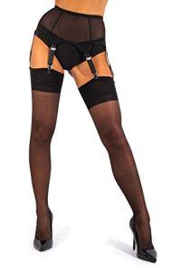 sofsy Femme Bas pour Porte-Jarretelles Bas Fins pour Porte-Jarretelles Bas Nylon 15 Den [Fabriqués en Italie] (Porte-Jarretelles non inclus) Noir 2 – Small