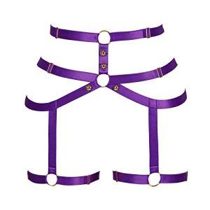 BANSSGOTH Harnais pour Femme Punk Carnival Body Leg Waist Garter Belt Festival Carnival Garter (Violet)