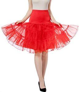 Jupon vintage rétro Jupon jupon pour mariage robe rockabilly – Taille haute – Jupe plissée pour adulte – Rouge – M