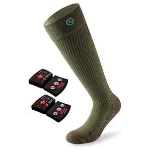 Lenz Unisex Heiz Socken 4.0 + Akku rcB1200 Toe Cap Outdoor Herren Damen Winter Beheizt Merino, 1555, Farbe Grün, Größe 45-47