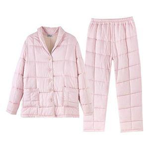 Pyjama De Dames 3 Femmes Épaississement Couche Matelassée 2 Est Rempli De Chaleur De La Couche D'air Bouton Pyjama Robe À Manches Longues Pyjama Pajamas Set De Dames ( Color : Pink , Size : 160 )