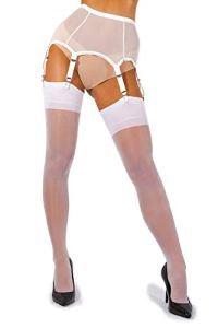 sofsy Femme Bas pour Porte-Jarretelles Bas Fins pour Porte-Jarretelles Bas Nylon 15 Den [Fabriqués en Italie] (Porte-Jarretelles non inclus) White 2 – Small