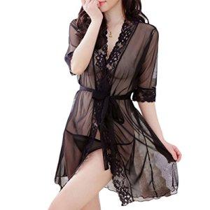 suoryisrty Femmes Robe Dentelle Kimono Babydoll Lingerie avec Ceinture Vêtements De Nuit Sheer Chemise De Nuit Nouveau Noir