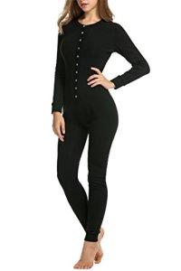 UNibelle Combinaison Pyjama Femme sous-Vêtements Thermique Uni Serré Long Pyjama Thermique Une Pièce pour Femme S-XXL