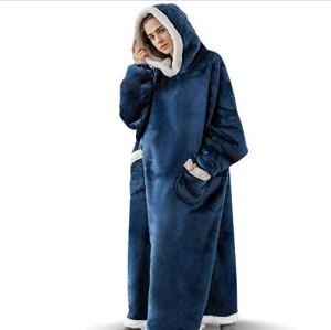AXYQ Couverture Lazy Winter, Flanelle de Femmes et Hommes Pyjama, Vertical étendue Poches et vêtements de Fourrure d'agneau Accueil,Bleu