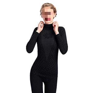 BOBD-DW Ensemble De sous-Vêtements Thermiques pour Femmes À Rayures Imprimées À La Mode. Black One Size