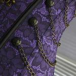Charmian Women's Spiral Steel Boned Steampunk Gothic Bustier Corset with Chains, Violet, Medium