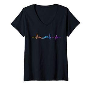 Femme Funny Swimming Graphic Gift Swim Coach Swim Team T-Shirt avec Col en V
