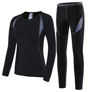 HAINES Ensemble de sous-Vêtements Thermiques Femme Base Layer sous-Vêtements Ski pour L'entraînement Randonnée Noir GR.44