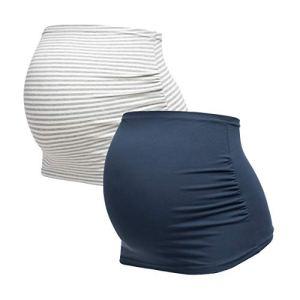 Herzmutter Bandeau de Grossesse – Paquet de 2 – Ceinture de Grossesse – Bandes de Ventre Maternité – Bandeau pour Femmes Enceintes – Uni-Rayé – 6000 (Neuf, S, Bleu/Rayé)