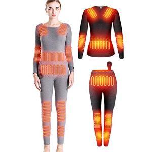 HWZZ Combinaison De sous-Vêtements Chauffante Et Résistante Au Froid Unisexe en Deux Pièces, Alimentation USB 12 Blocs Chauffants en Fibre De Carbone,Women's,M