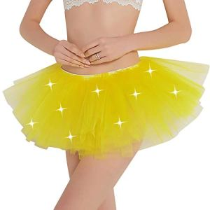 IEFIEL Fille Femme Jupe LED Tutu Jupe Danse Ballet Scène Performance Lumineuse Jupe Tulle Adulte Mini-Jupe Courte Noël Déguisement Bulle Carnaval Fête Jaune One Size