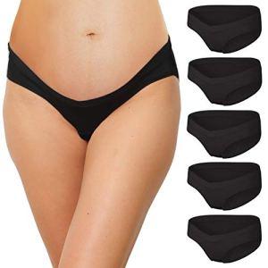 INNERSY Culotte Grossesse Maternité Noir Coton Slip Femme Sexy V-Forme Lot de 5 (48, 5 Noir)