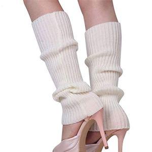 JINSUO NWXZU Lady Femmes Solides en Tricot d'hiver Jambières en Vrac Style Boot Knee High Boot Jambières Bas Cadeau (Color : White)