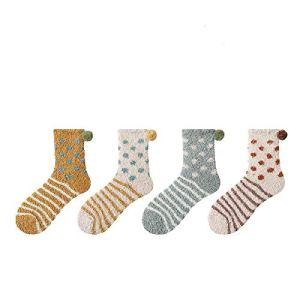 JMDS Chaussettes moelleuses Fuzzy Soft Ladies Pantoufles confortables Chaussettes Hiver en peluche Broderie épaisse Chaussettes de sommeil chaudes Chaussettes de sol (4 paires)