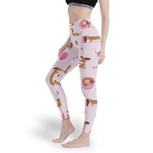 Legging long imprimé Teckel pour femme – Pantalon de yoga tendance pour le sport – Blanc – XXXL