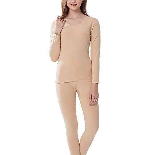 LLSS sous-vêtements Thermiques pour Femmes/Ensemble Ultra-Doux à Une Seule Couche Leggings d'hiver Couche de Base Hauts doublés Haut Bas Pyjama adapté à l'usure intérie
