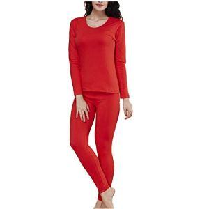 LLSS vêtements Thermiques pour Femmes/Hiver Ensemble Thermique Base col Rond Haut doublé de Polaire Grande Taille Leggings Haut Bas Pyjama adapté à l'usure intérieure