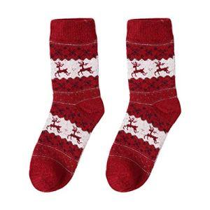 Lot de 3 paires de chaussettes fantaisie en laine pour femme – Pour l'hiver – Chaudes et confortables – Pour Noël et Noël